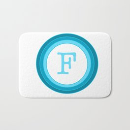 Blue letter F Bath Mat
