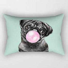 Bubble Gum Black Pug in Green Rectangular Pillow