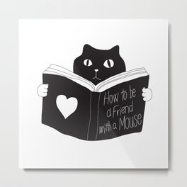 The Serious Cat and the Book Metal Print