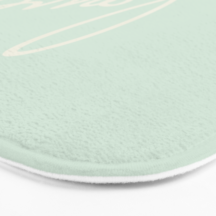 LOVE - Typography on mint green background Bath Mat