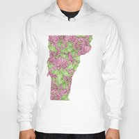 vermont Hoodies featuring Vermont in Flowers by Ursula Rodgers