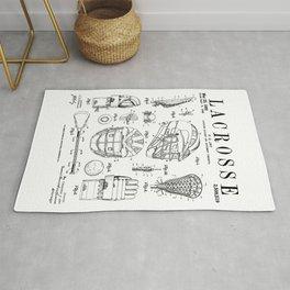 Lacrosse Player Equipment Vintage Patent Drawing Print Rug