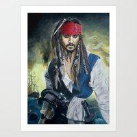 jack sparrow Art Prints featuring Captain Jack Sparrow by zlicka