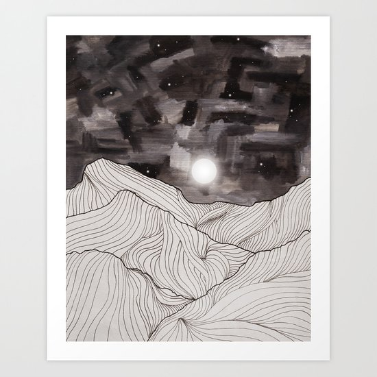 Lines in the mountains III Art Print