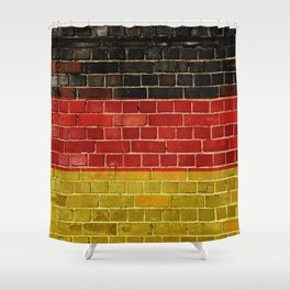 Germany flag on a brick wall Shower Curtain