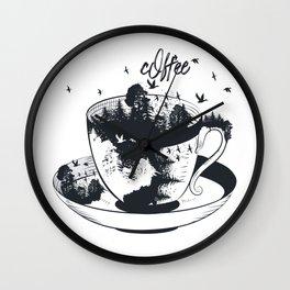 Beautiful coffee mug with forest landscape aristic fashion design Wall Clock