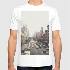 New York City Streets White MEDIUM Mens Fitted Tee