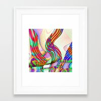 techno Framed Art Prints featuring techno-doodle by David  Gough