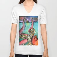 kraken V-neck T-shirts featuring Kraken by Indigo22