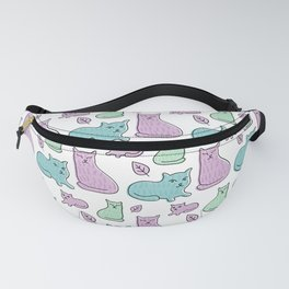 Pastel Cats And Leaves Pattern Fanny Pack
