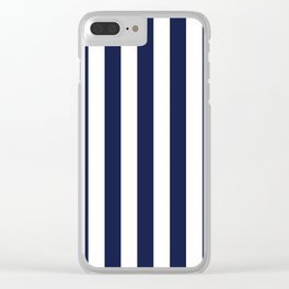 Maritime pattern- darkblue stripes on clear white - vertical Clear iPhone Case