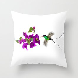 Streamertail Hummingbird and Bougainvillea Throw Pillow