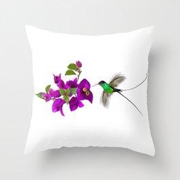 Streamertail Hummingbird and Bougainvillea Throw Pillow
