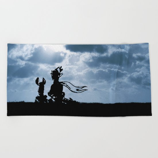 The little prince and the fox - dream version blue - quote Beach Towel