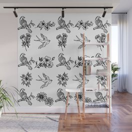 white birds Wall Mural