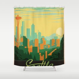 Vintage poster - Seattle Shower Curtain