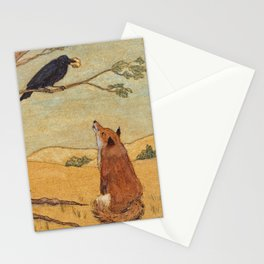 Fox and Crow from Aesop's Fables - Beware of flatterers. Stationery Cards