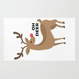 Oh Dear Rudolph Red Nosed Reindeer Funny Design Rug
