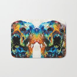 Colorful Dog Art - Heart And Soul - By Sharon Cummings Bath Mat