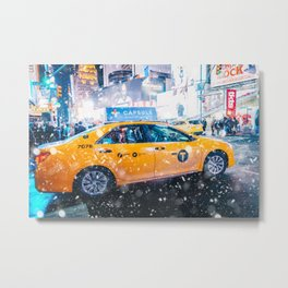 People in yellow cab shot famous led advertising panels in Times Square during snow Metal Print