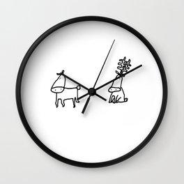 "Cute Christmas Cards- ""Rein Dears"" - 1 Wall Clock"