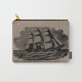 Vintage Sailing Ship - Antique Book Plate Etching - Retro Style Brown and Black Carry-All Pouch