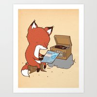 record Art Prints featuring Record Player by hatrobot