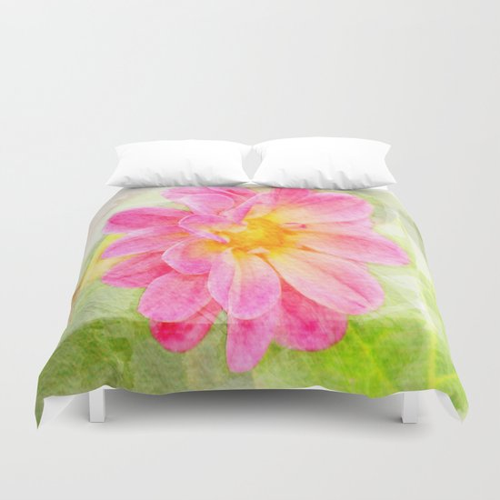 Pink Pastel Watercolor Flower Duvet Cover