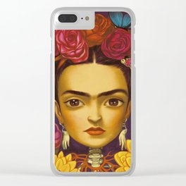 Frida Flowers Clear iPhone Case