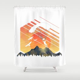 Vintage TEE Sun Sunset Clothing Parachute Shower Curtain