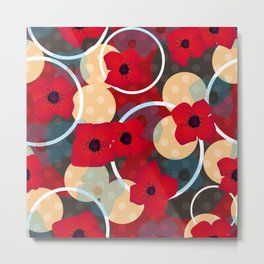 Red flowers , retro Metal Print