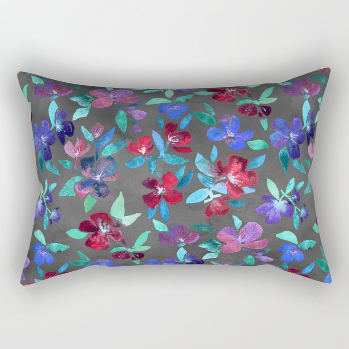 Blossoms in Cherry, Plum and Purple Rectangular Pillow