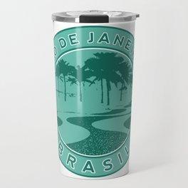 Rio de Janeiro, Brazil, Copacabana beach, green circle Travel Mug