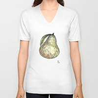 pear V-neck T-shirts featuring Pear by Ursula Rodgers