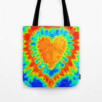 tye dye Tote Bags featuring TYE DYE HEART by TMCdesigns