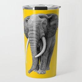 Bull elephant - Drawing In Pencil On Vintage Yellow Travel Mug