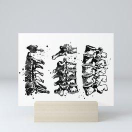 Cervical Thoracic Lumbar Vertebrae Spine Black and White Mini Art Print