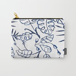 Tropical Plant Boho Chinoiserie Blue and White Carry-All Pouch