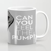 fitness Mugs featuring CAN YOU FEEL THE PUMP? FITNESS SLOGAN CROSSFIT MUSCLE by HAPPY