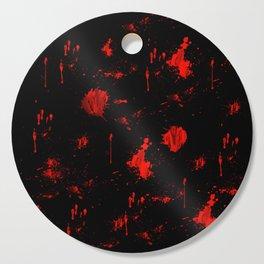 Red Paint / Blood splatter on black Cutting Board
