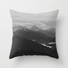Mountain Landscape Black and White Throw Pillow
