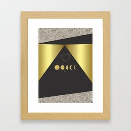 Faux Gold Moon Phases Gold Heart Framed Art Print