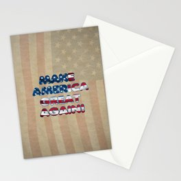 USA Flag MAKE AMERICA GREAT AGAIN typography Stationery Cards