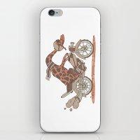 motorbike iPhone & iPod Skins featuring Giraffe on a motorbike by schäferhäst