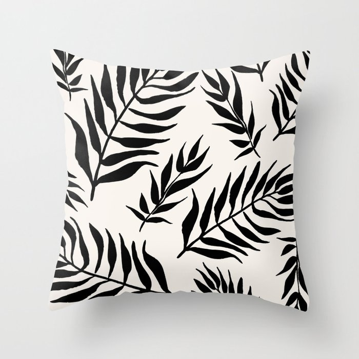 Black Palm Leaves Pattern Throw Pillow
