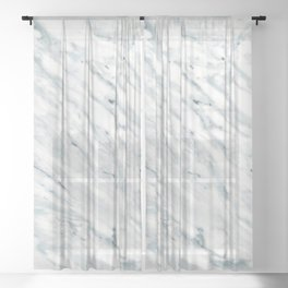 Real Marble Pattern - Swirly White and Gray Marble Sheer Curtain
