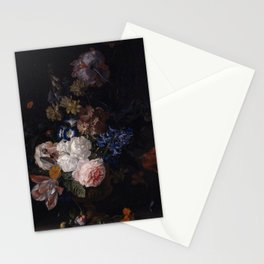 Jan van Huysum - Still-life with Roses, Tulips, Hyacinths and other Flowers in a Classical Urn Stationery Cards