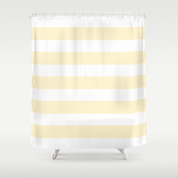 Cream White Stripes Shower Curtain