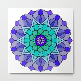 Flower power mandala in bold colors Metal Print