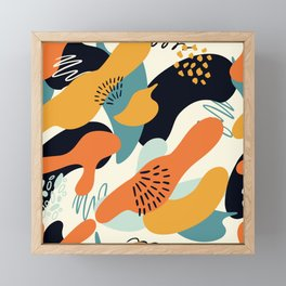 Contemporary Abstract Pattern In Tangerine, Mustard And Aqua Framed Mini Art Print